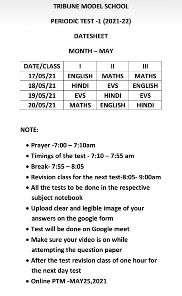 CLASS I TO III PERIODIC TEST DATE SHEET